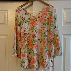 Olivaceous Blush Floral Flowy Top Size Small